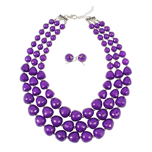 KOSMOS-LI 3 Layer Acrylic Purple Beads Multi Strand Necklace