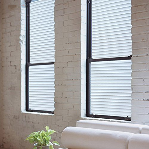 SU&HIN Blind window sticker,Electrostatic glass sticker for offices striped glass sticker sliding door and window sticker transparent opaque insulated window sticker-I 120x100cm(47x39inch)