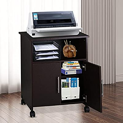 go2buy Home Office Rolling Printer Cart with Storage Cabinet on Wheels Espresso Finish