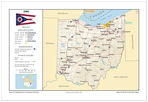 13x19 Ohio General Reference Wall Map - Anchor Maps USA Foundational Series - Cities, Roads, Physical Features, and Topography - Usa Physical Features