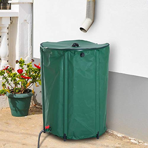 60 Gallon Rain Barrel Rainwater Collection Tank Runoff Water from Downspout Foldable Design Large Water Capacity Outdoor Garden Lawn Care Green ()