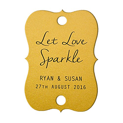Summer-Ray 48 Personalized Shimmered Gold Little Violin Wedding Sparkler Tags Let Love Sparkle -