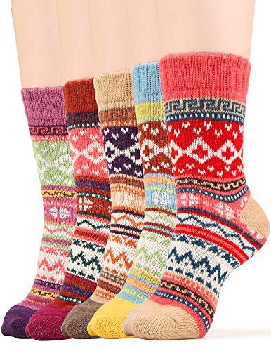 (Winter Socks for Women Wool Blend Knit Cotton Warm Ankle Crew Sock Fun Design, 5 Pack, One Size)