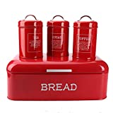 (US) Hot Sale X384L Set of 4 Square Large Metal Vintage Home Kitchen Gifts Storage Tin Canister/Bread Box/Bin/Container/Holder Sets(Red)
