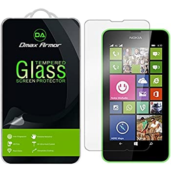 Nokia Lumia 635 / 630 Glass Screen Protector, Dmax Armor [Tempered Glass] 0.3mm 9H Hardness, Anti-Scratch, Anti-Fingerprint, Bubble Free, Ultra-clear
