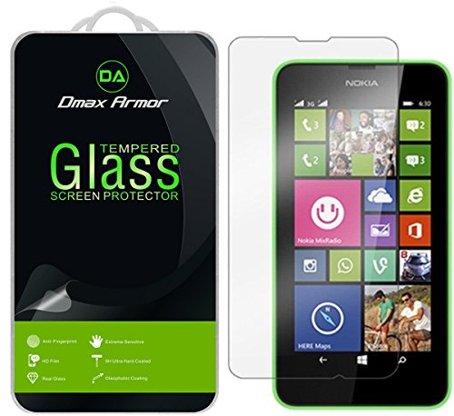 Dmax Armor for Nokia Lumia 635/630 Screen Protector, [Tempered Glass] 0.3mm 9H Hardness, Anti-Scratch, Anti-Fingerprint, Bubble Free, Ultra-clear (Lumia 630 Screen Protector)