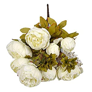 Fasclot European Core Peony High-end Artificial Flowers Silk Flower Leaf Home Wedding Party Decor (White) 53