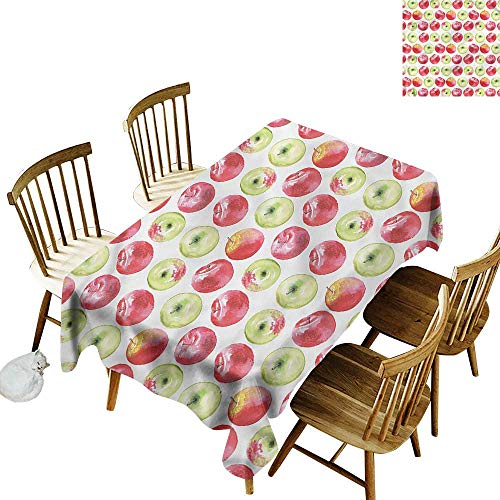 Sillgt Fashions Rectangular Table Cloth Apple Watercolor Granny Smith Resistant/Spill-Proof/Waterproof Table Cover 54