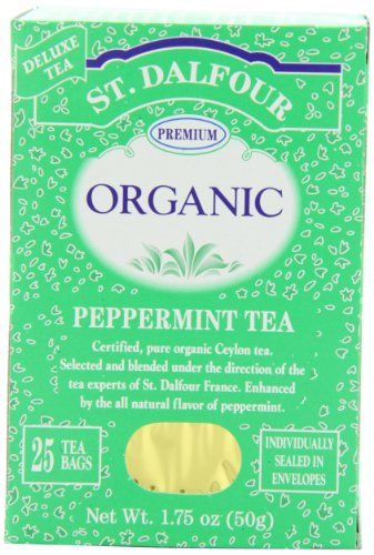St Dalfour Peppermint Tea - ST. DALFOUR Organic Tea, Tea Bags, Peppermint, 25-Count 1.75-Ounce Bags (Pack of 6)
