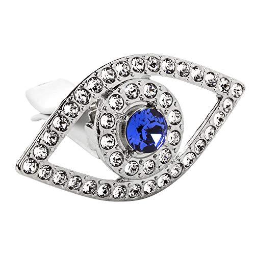 Lunna Evil Eye Embellished With Swarovski Crystals Silver Vent Clip - Pack of 1 ()
