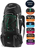Cheap TERRA PEAK Adjustable Hiking Backpack 55L/65L/85L+20L for Men Women With Free Rain Cover Included Black Navy (Black 55L+20L)