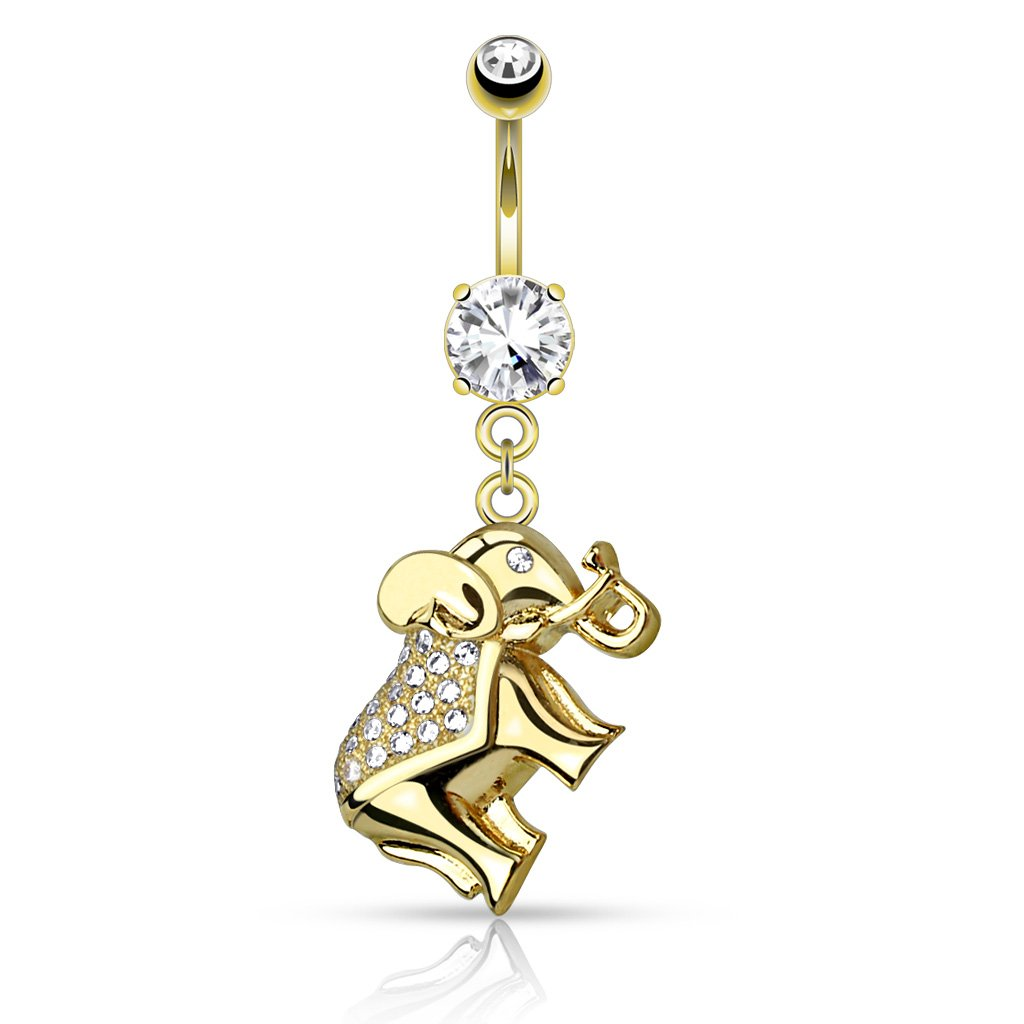 CZ Paved Elephant Dangle 316L Surgical Steel Belly Button WildKlass Navel Rings Sold by Piece