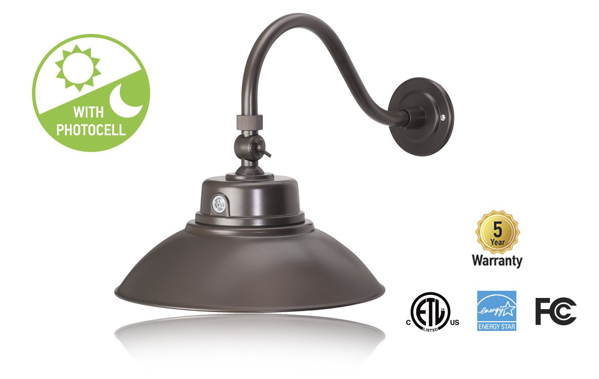 ASD 14'' LED Gooseneck Barn Light – Photocell Included - Swivel Head - 42W - Bronze Finish - Commercial Grade - Energy Star Rated - ETL Listed - Sign Lighting - 4000K (Bright White) by ASD