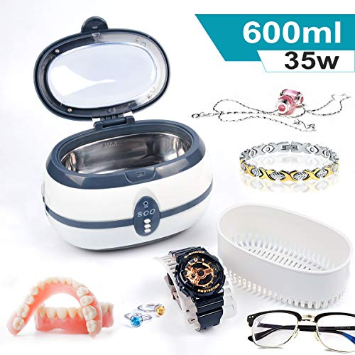 Armyte Ultrasonic Cleaner, Professional Jewelry Cleaner Ultrasonic Cleaning Machine for Eye Glasses, Jewelries, Watches, Razors, Dentures, Combs, Tools, Instruments, Household Commodities