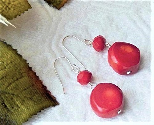 One of a Kind Handcrafted Sterling Silver Coral Czech Glass Dangle Earrings