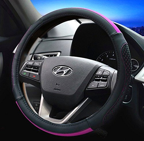 Best-Shops Steering Wheel Cover Leather Black with Purple 14.5\'\' to 15\'\' Fits Most Cars