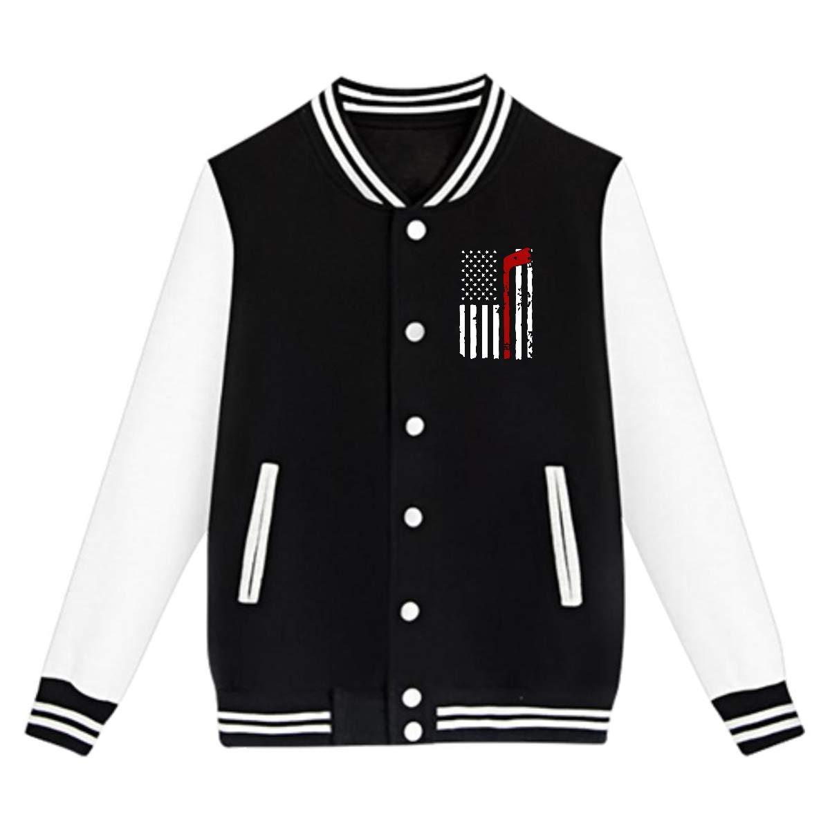 Hockey American Flag Coat Sport Outfit NJKM5MJ Unisex Teen Baseball Uniform Jacket