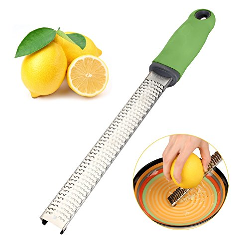 Hindom Premium Lemon Zester Stainless Steel Cheese Grater with Safety Protect Cover-Dishwasher Safe