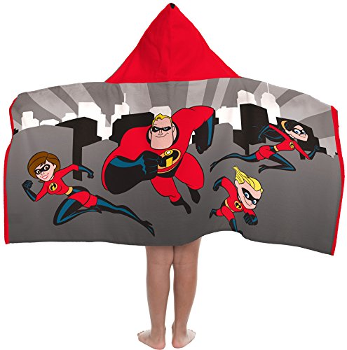 Disney/Pixar Incredibles Soft & Absorbent Kids Hooded Bath/Pool/Beach Towel, Featuring The Incredibles Family - Fade Resistant Cotton Terry Towel, 22.5 Inch x 51 Inch (Official Disney/Pixar product)