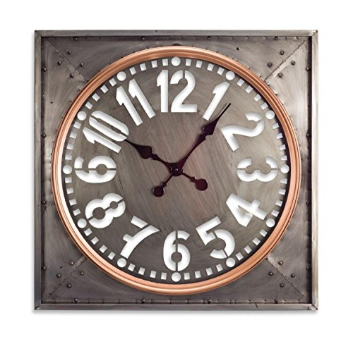 Steel Grey Decorative Wall Clock with Copper Colored Ring