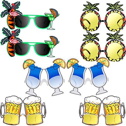8 Pieces Hawaiian Themed Sunglasses Tropical Party Eyeglasses Summer Sunglasses Decoration for Kids, 4 ()
