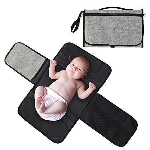Beautymei Portable Waterproof Baby Diapers Changing Pad Kits Mattress Replaceable Covers Changing Station Mat with Head Cushion, for Unisex Infants & Newborns