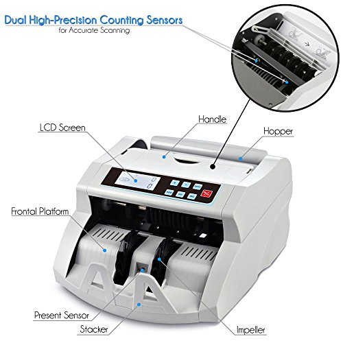 Pyle Bill Counter Cash Automatic Counting Machine