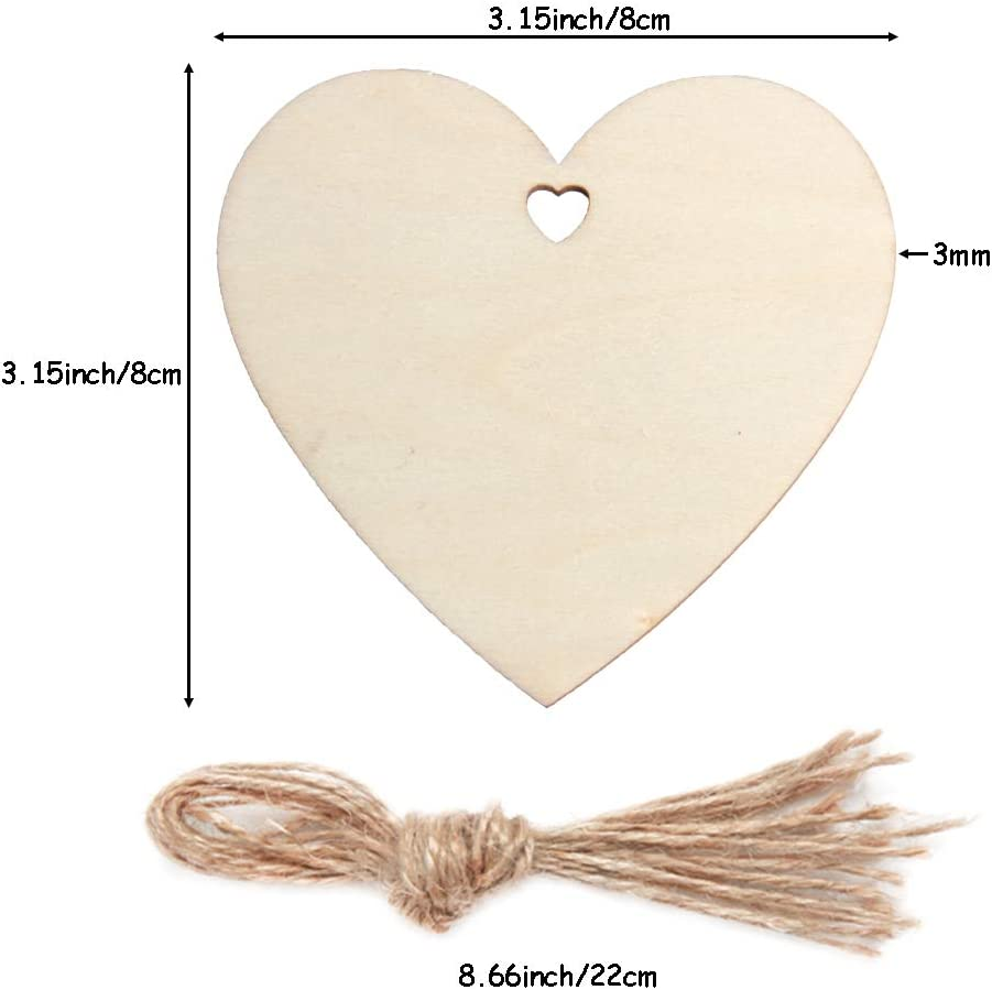 yalansmaiP 60 Pieces Heart Wood Slices Love Heart Tags Hanging ...