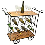 D64087 Large Wine Rack Holds 35 Wine Bottles 40 by 31 inch Cart Style