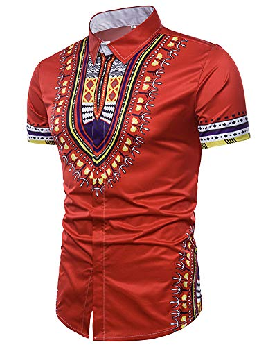 Fashion African Print Shirt - Casual Button Down Tops Summer Short Sleeve Blouse Red US L
