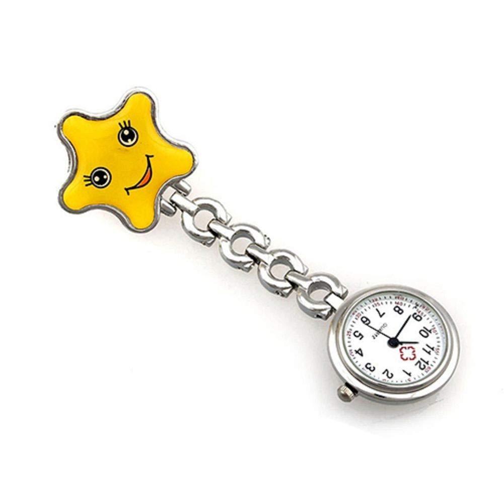 Women's Smile Face Nurse Brooch Fob Tunic Pocket Watch Star Shape Pocket Watch