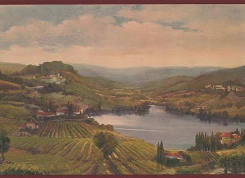 Village on Rolling Hills by Lake Garnet Red Trim Vintage Wallpaper Border Retro Design, Roll 15' x -