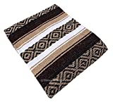 "Threads West Premium Large Heavyweight Mexican Falsa Blanket, Serape Stripe Yoga Blanket (72"" X 52"") (Large Heavy, Brown and Beige)"