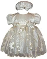 Infant Girl Holiday Dress - Satin with Embroidery (Size 3M - 24M)