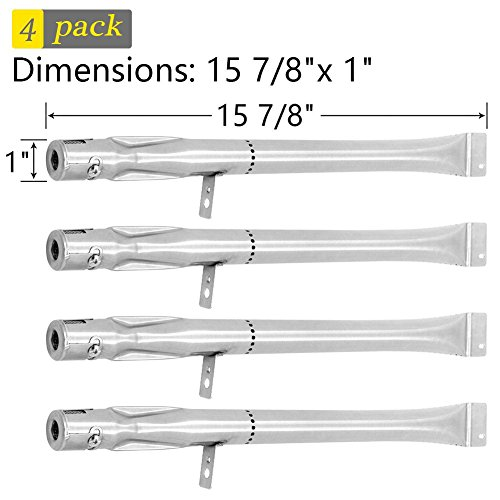 SHINESTAR Grill Burner Replacement for Stok Grill Models SGP4032N, SGP4130N, SGP4330, SGP4330SB, 4-Pack Stainless Steel Universal BBQ Burner Tube Pipe, Grill Replacement Parts(15 7/8 inch, SR053)