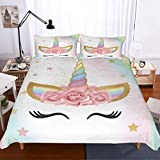 APJJQ Unicorn Duvet Cover Set Full/Queen Size,Floral Feather Eyelashes Unicorn Head with Pink/Blue/Gold Stars Background White 2 Piece with 1 Pillow Sham Kids Bedding Set for Boys,Girls and Teens