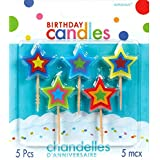 """Party Time Molded Stars Birthday Toothpick Candles, Pack of 5, Multi , 2.75"""" Wax, Toothpick"""