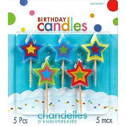 Amscan - Palillos de Star y Juego de velas de cumpleaños ...
