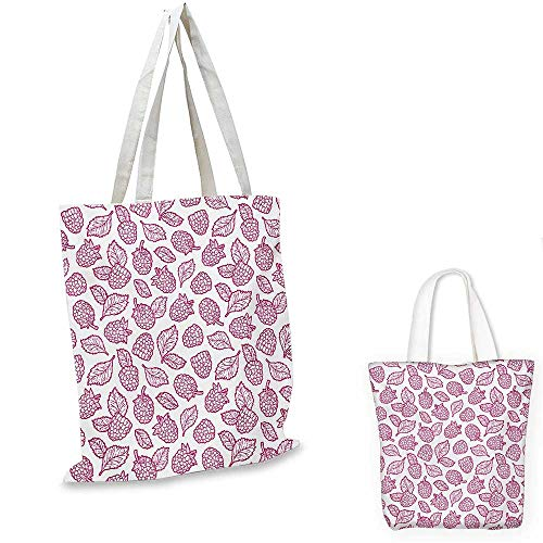 Fruit canvas messenger bag Cute Raspberry Pattern Doodle Style Vibrant Yummy Fresh Leaves Nature Art Image canvas beach bag Magenta White. 12