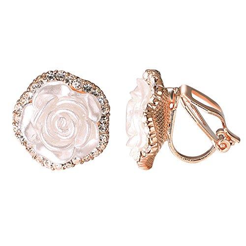 Clip Rhinestone Flower Earrings - Yoursfs Clip On Earrings with Round Austrian Crystals Rhinestones for Women(Flower Clip Earrings)