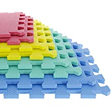 Foam Mat Floor Tiles, Interlocking EVA Foam Padding by Stalwart – Soft Flooring for Exercising, Yoga, Camping, Kids, Babies, Playroom – 8 Piece Set