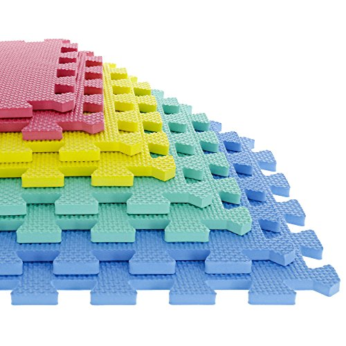 Foam Mat Floor Tiles, Interlocking EVA Foam Padding by Stalwart – Soft Flooring for Exercising, Yoga, Camping, Kids, Babies, Playroom – 8 Piece (Interlocking Foam Playmats)