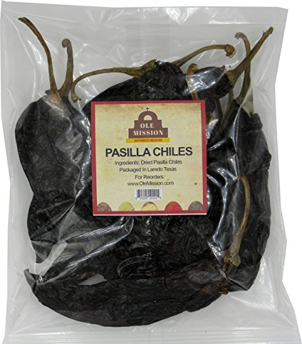 Chile Pasilla Dried 4 oz For Mole Sauce, Taco Seasoning, Tamales, Salsa, Chili, Meats, Soups, Stews by Ole Mission ()