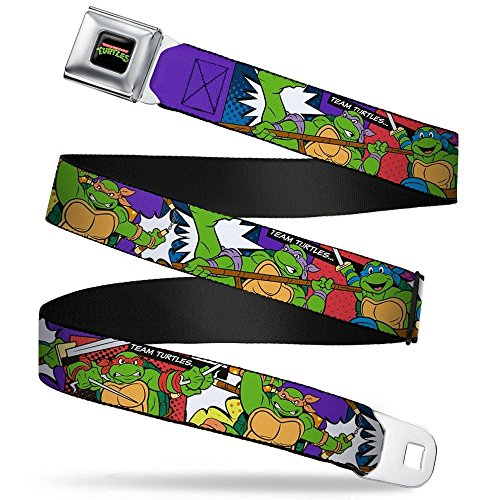 Buckle-Down Seatbelt Belt - Classic TMNT Action Poses/TEAM TURTLES - 1.5