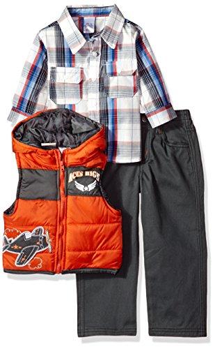 Little Rebels Baby Boys' 3 Piece Plaid And Airplane Vest And Pant Set, Orange, 12 (Infant Boys 3 Piece)