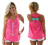 Yipost-Womens-Pattern-Flowy-Back-Bowknot-Racerback-Tank-Tops-Pink-Anchor-Medium