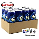 Mega Man E Tank Energy Drink 12 FL OZ (355mL) Can - 12 Pack Case With 2 GosuToys Stickers