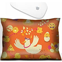 Luxlady Mouse Wrist Rest Office Decor Wrist Supporter Pillow IMAGE: 44697873 Colorful seamless pattern with the stylized hen chicken and eggs Childrens illustration