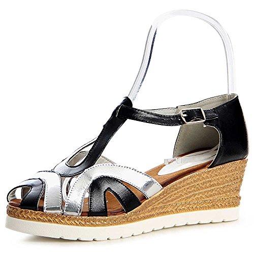 Damen Riemchen Sandaletten Keilabsatz 1186 Schwarz