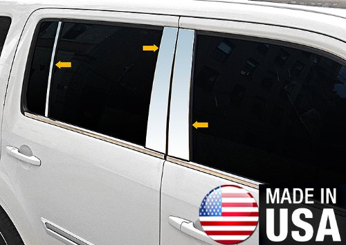 Made In USA! Works With 2009-2015 Honda Pilot 6PC Stainless Steel Chrome Pillar Post Trim